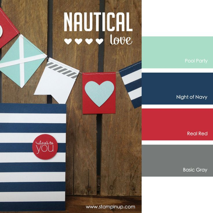 Stampin' Up! Color Combo: Pool Party, Night of Navy, Real Red, Basic Gray #stampinupcolorcombos