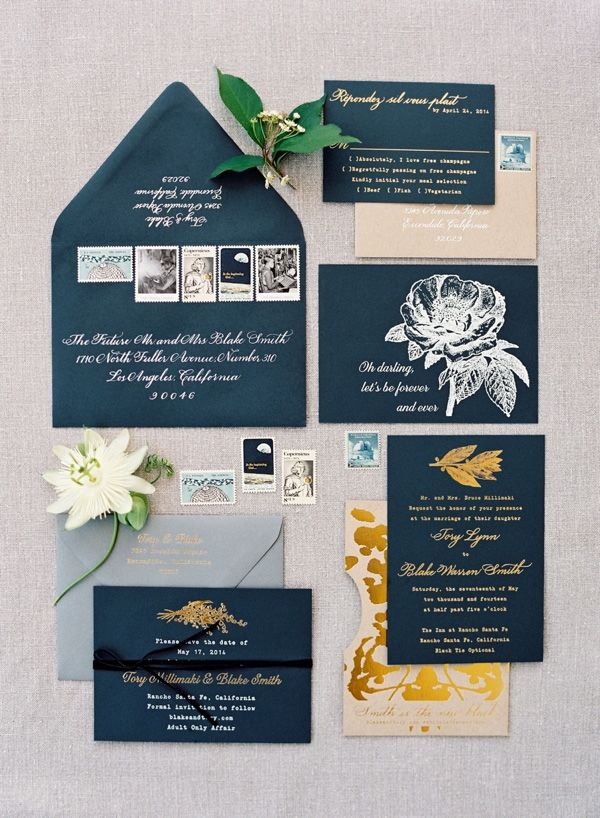 Black Invitations with White and Gold Floral Print