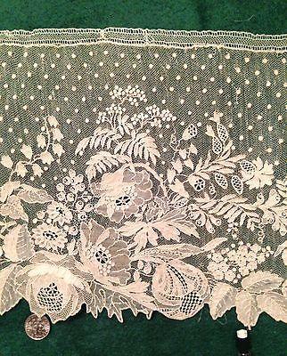 """POINT DE GAZE Lace Antique 1700's 8"""" w X 12' L - Hand-Made BELGIAN LONG LENGTH"""