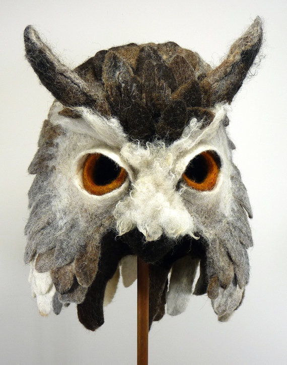 Hand felted Owl animal mask / head dress, suitable for performance, dance or theatre. $695.00, via Etsy.