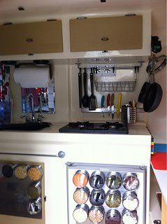 202 best airstream makeovers images on pinterest mobile for Caravan kitchen storage ideas