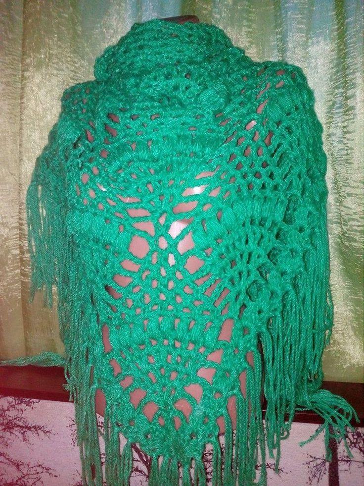 New unique hand knit crochet handmade wedding wool shawl wrap green #Handmade #ShawlWrap