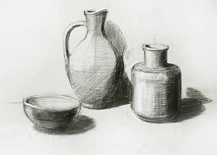 Sped-up video of a basic still life drawing using measurement techniques to set proportion, and good sketching style. Good to let beginning students notice things like how pencil is held, how composition is mapped out before hard lines and value are added, etc.