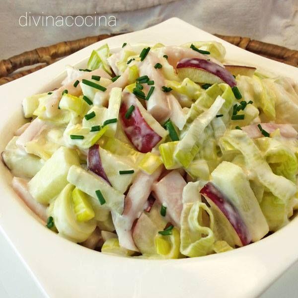 Ensalada de puerros, jamón y manzana < Divina Cocina