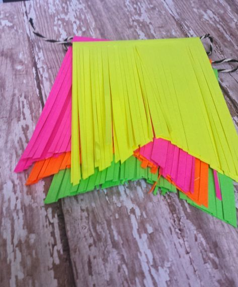 Neon Party Decorations - Sugar Bee Easy Simple & Modern Crafts. DIY pennant, banner, sign, decorations for summer birthday pool party or 80's themed event.