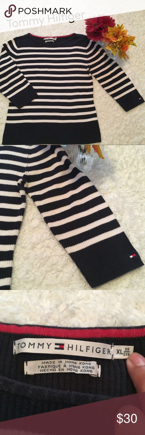 Tommy Hilfiger 3/4 sleeve Sweater In Excellent condition. Has a faded look. Very soft has a good stretch. Would be great for smaller sizes as well if they like loose fit with jeggins. Measurements are above. Pls let me know if you have any questions. Bundle up to save and Offers are welcome :) Tommy Hilfiger Sweaters