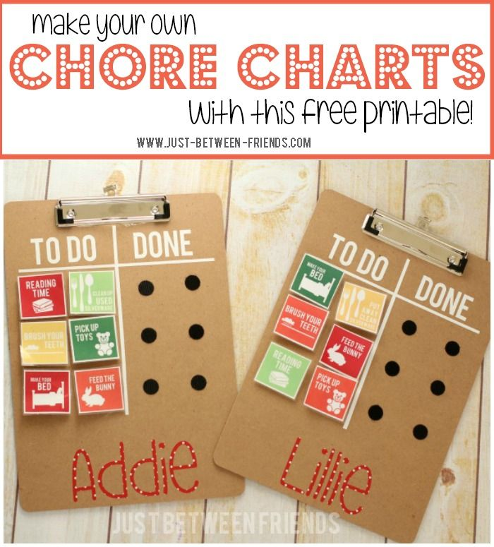 Just Between Friends: DIY Chore Chart with {free} Printables