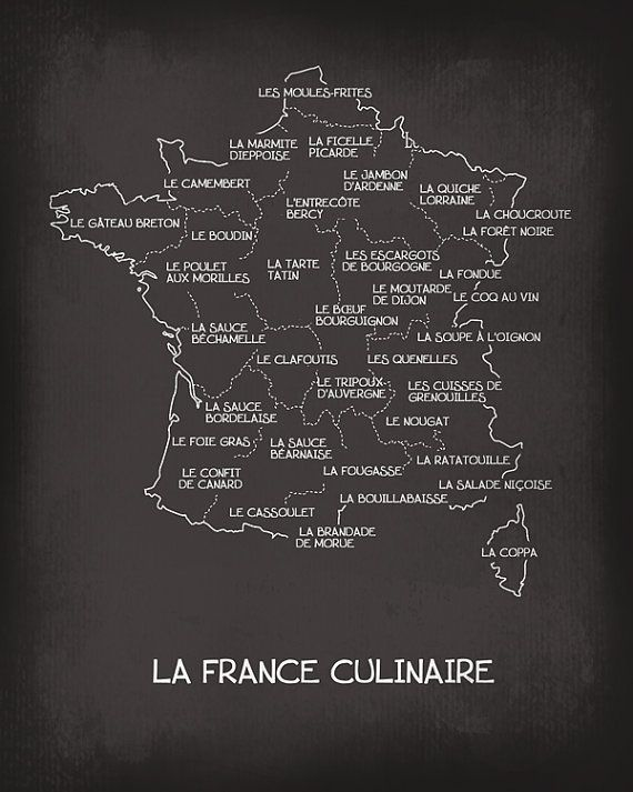 La france culinaire culinary french map art print food for Decoration culinaire