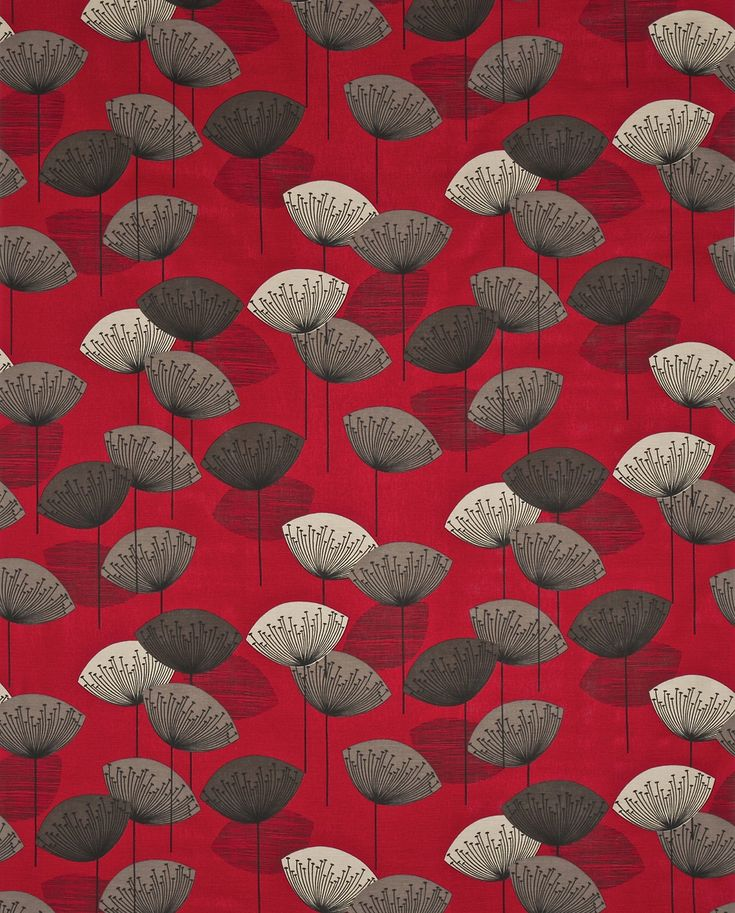 Dandelion Clocks (DOPNDA201) - Sanderson Fabrics - A fun and funky 50's retro design. Stylised dandelion heads with seeds radiating from a central point . Shown in the Red colourway. Please request sample for true colour match.