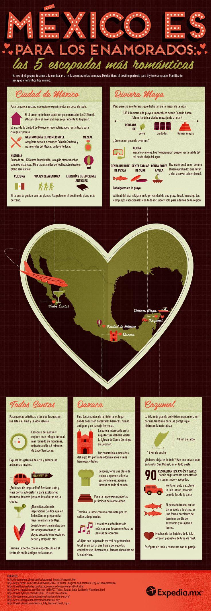 5 escapadas románticas en México #infografia #infographic #tourism