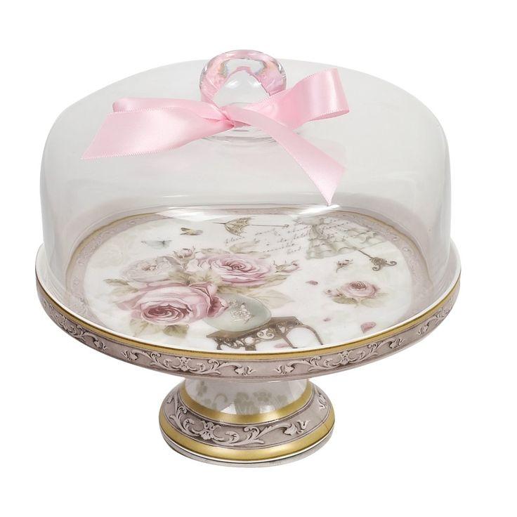 Τουρτιέρα από πορσελάνη με σχέδιο τριαντάφυλλα και γυάλινο καπάκι για την φύλαξη και το σερβίρισμα των γλυκών . Διατίθεται σε συσκευασία δώρου.