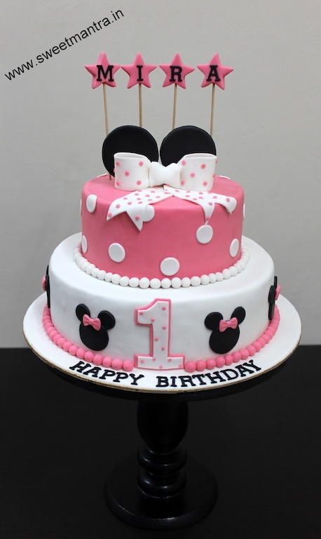 Disney Minnie Mouse theme customized 2 layer designer fondant cake by Sweet Mantra - Customized 3D cakes Designer Wedding/Engagement cakes in Pune - http://cakesdecor.com/cakes/273614-disney-minnie-mouse-theme-customized-2-layer-designer-fondant-cake