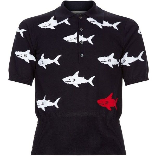 Thom Browne Shark Knit Polo Shirt ($1,060) ❤ liked on Polyvore featuring men's fashion, men's clothing, men's shirts, men's polos, mens knit shirts, mens slim fit polo shirts, mens slim shirts, mens slim fit shirts and mens polo shirts