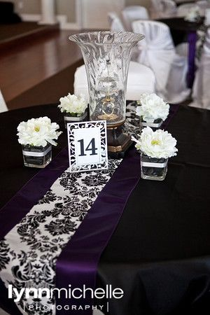 damask and purple wedding reception decorations my sisters are rh pinterest com Budget Centerpiece Ideas Damask Decorations