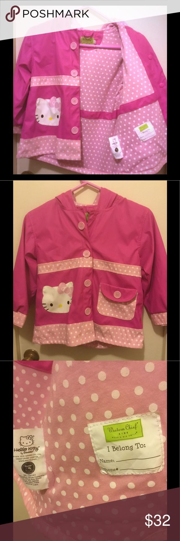 Girls Kids Western Chief HELLO KITTY Pink Girls Kids Western Chief HELLO KITTY Pink Polka-Dot Hooded Raincoat - Size 6-6x  As seen on scan, this is the exact item you will receive   Cute rain gear for your little one. New w/o tags.  Pet-free & smoke-free  Thank you! Western Chief Jackets & Coats Capes
