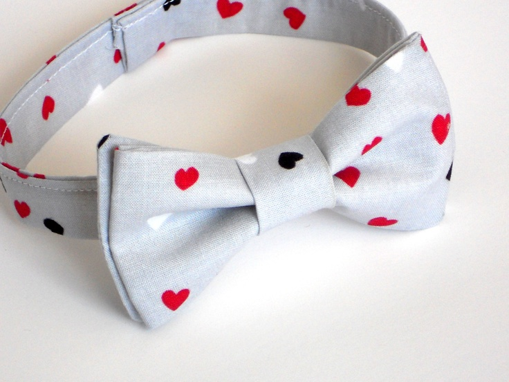 boys valentines bow tie gray and pink bow tie for valentines day
