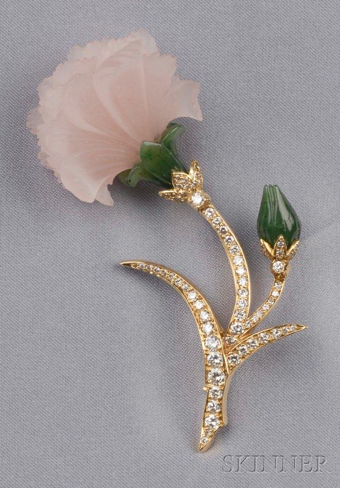 18kt Gold, Carved Rose Quartz, Nephrite, and Diamond Flower Brooch