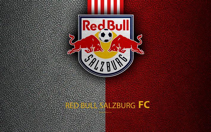 Download wallpapers FC Red Bull Salzburg, 4K, leather texture, logo, Austrian football club, Austrian Bundesliga, Salzburg, Austria, football