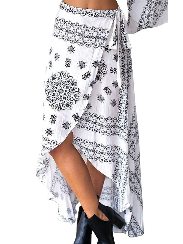 Bohemian Printed Side Slit Irregular Women Maxi Skirt