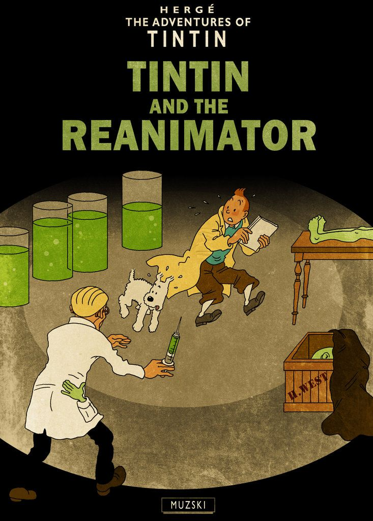 Tintin is known for visiting exotic locales, and artist Murray Groat has plopped the boy adventurer in such fantastical destinations as Innsmouth and R'lyeh. Watch Hergé's hero run afoul of the Reanimator and Cthulhu. Seventy-seven shuffling shambling shifty-eyed shoggoths!