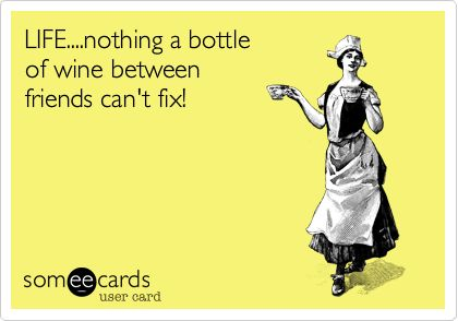 Funny Family Ecard: LIFE....nothing a bottle of wine between friends can't fix!