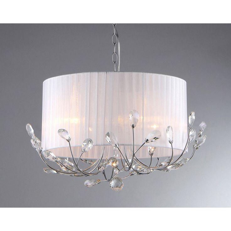 $170.00 21x12 Brighten any space while giving it a more contemporary look with this chrome crystal chandelier. The elegant chandelier is designed for indoors and has lovely crystal accents that make it sparkle. The white fabric shade makes it easy to match.