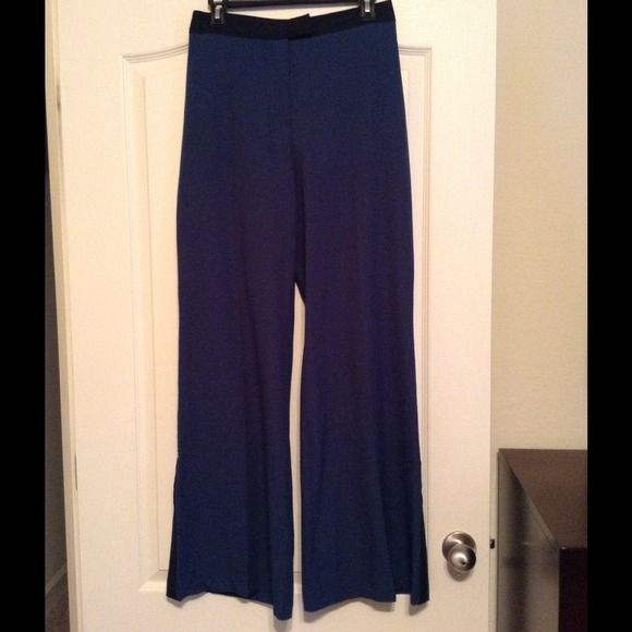 H&M wide leg tuxedo stripe pants Fashion Star for H&M wide leg tuxedo stripe pants. Teal with black stripe and trim at waist and pockets. Worn once. H&M Pants