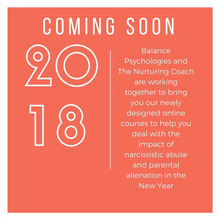 EXCITING NEWS  Balance Psychologies and myself are working together to design a new range of courses to deal with the practical and emotional impact of narcissistic abuse and parental alienation.  Coming soon in 2018!  #parentalalienation #narcissisticabuse