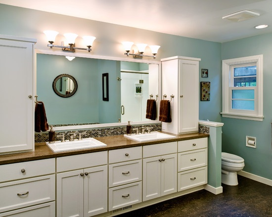 Vanity with tower cabinets master bath pinterest - Bathroom vanity tower cabinets ...