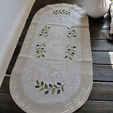 """16""""x33"""" Classic Beige Floral Linen Table Runners – USD $ 6.99"""