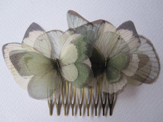 New silk organza butterflies hair pin from #thebutterfliesshop on @Etsy :)