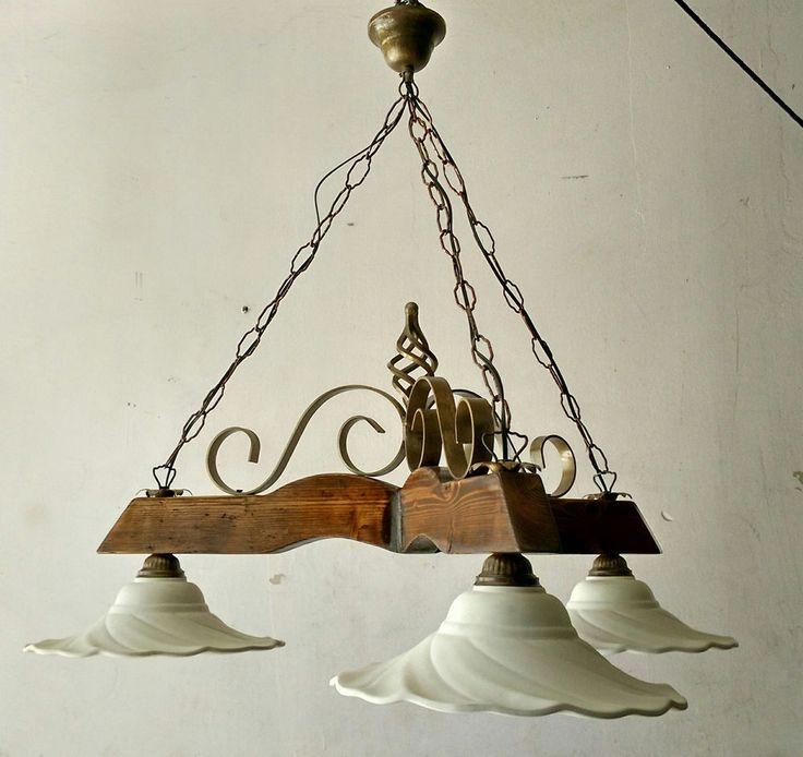 Lampadario rustico ferro legno terracotta bianca col. noce scuro/ bronzo antico