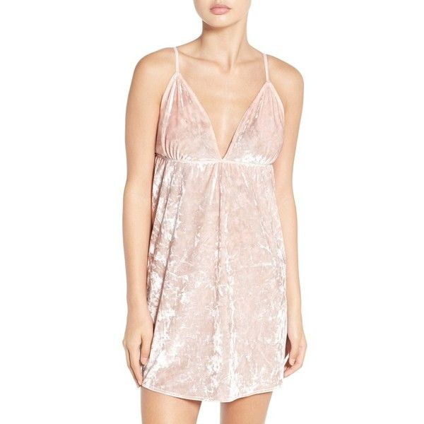 Women's Chelsea28 Crushed Velvet Camisole (€53) ❤ liked on Polyvore featuring intimates, camis, pink wood, mini camisole, mini cami, pink chemise, pink cami and pink camisole