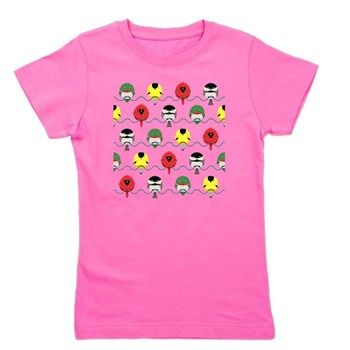 Bird Pattern Girl's Tee from cafepress store: AG Painted Brush T-Shirts. #birds #pattern #tshirt