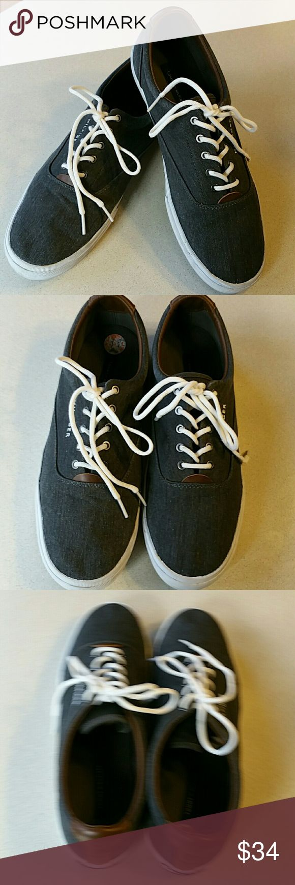 Men's T. Hilfiger Van style sneakers. Size 11 EUC Charcoal gray denim, with dk. Brown leather like trim, reinforced at heel. Barely worn, very good condition. Look and feel like Vans. Tommy Hilfiger brand Size 11. Tommy Hilfiger Shoes Loafers & Slip-Ons