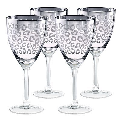 Leopard printed wine glasses