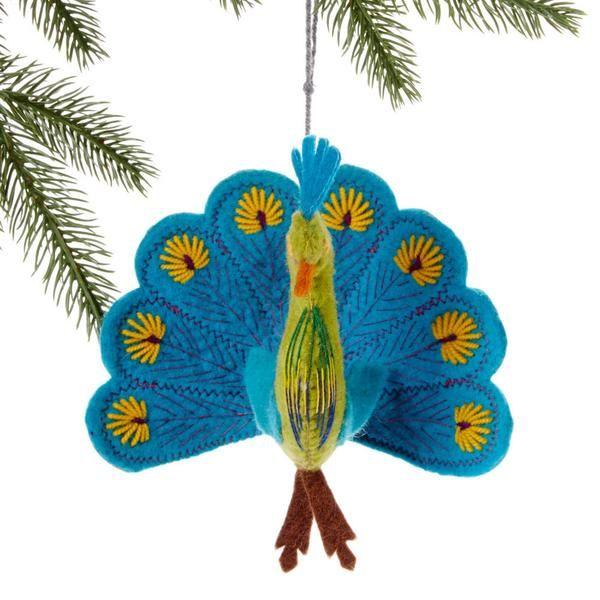 Turquoise Peacock Felt Holiday Ornament - Silk Road Bazaar (O)