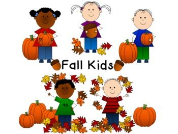 Fall Kids Clip Art!  Adorable kids and everything Autumn!  All images in color and in black and white!