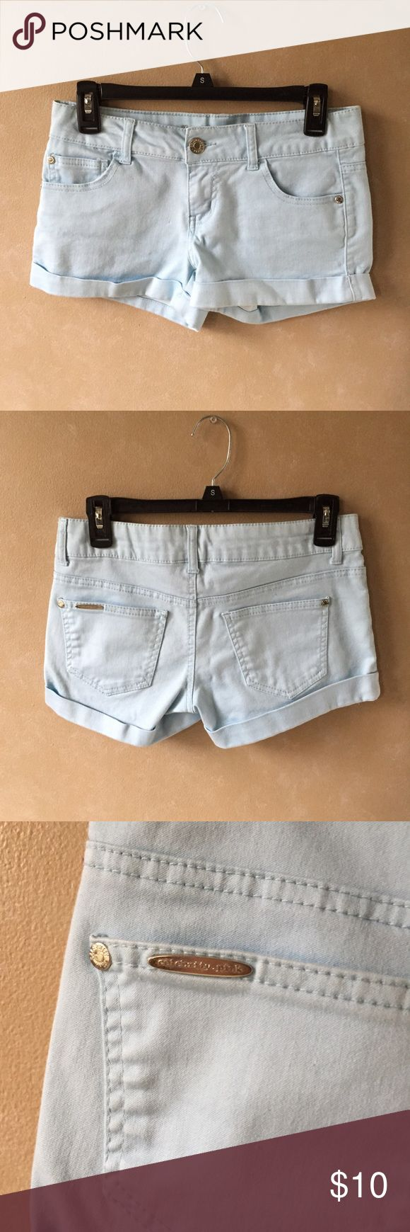 Light blue shorts Light blue shorts | Size 5 (juniors) | Beautiful sky blue color *See last few photos for actual color* | Never worn/no damage                                                                  🛍Bundle & Save!  💕Accepting offers  📫I ship within 1-2 days  💎I don't ship on Sat. afternoon & Sun. Shorts Jean Shorts