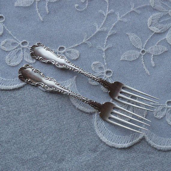 Antique sterling silver dinner fork set of 2 ornate fancy bride and groom set wedding gift set Canadian silverware