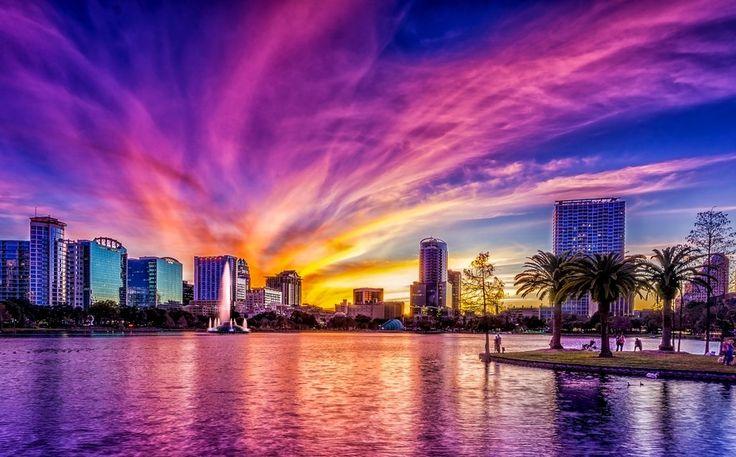 Amazing Sunset Over Lake Eola Orlando Florida Viewbug