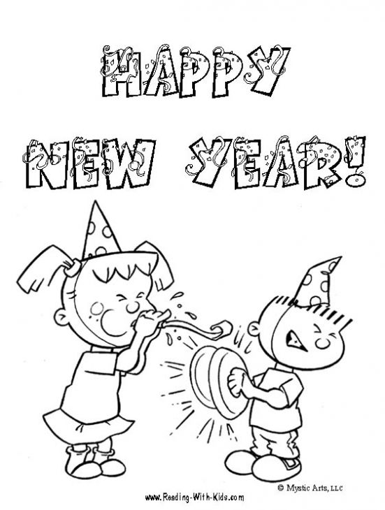 Printable Happy New Year Coloring Sheet For Kindergarten