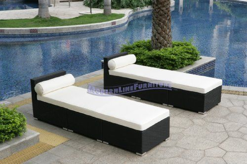 Modern Furniture All-Weather Collection: Pair of Two White Extended Loungers by ModernLineFurniture. $1599.95. Outdoor lounger features: Resin wicker material and frame w/ rust-proof coated aluminum. In stock in NJ warehouse.. Easy maintenance, cleans with soap and water. Ships within 4-5 days.. Each lounger includes 3 modular components (1 Extensions, 2 Coffee Tables). Dimensions: See photo above for the proper measurements