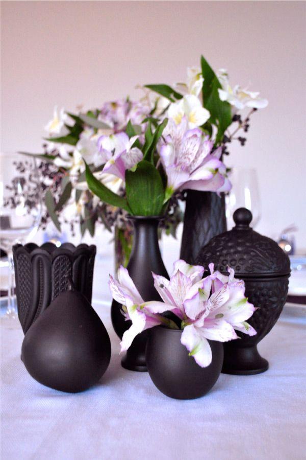 Matte black Painted vases
