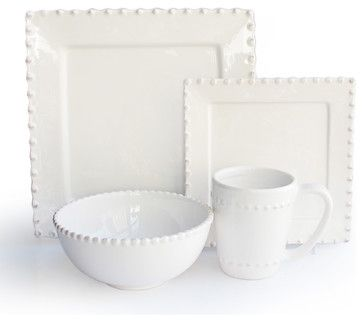 Bianca Bead Square 16 Piece Dinnerware Set - traditional - dinnerware - Jay Import
