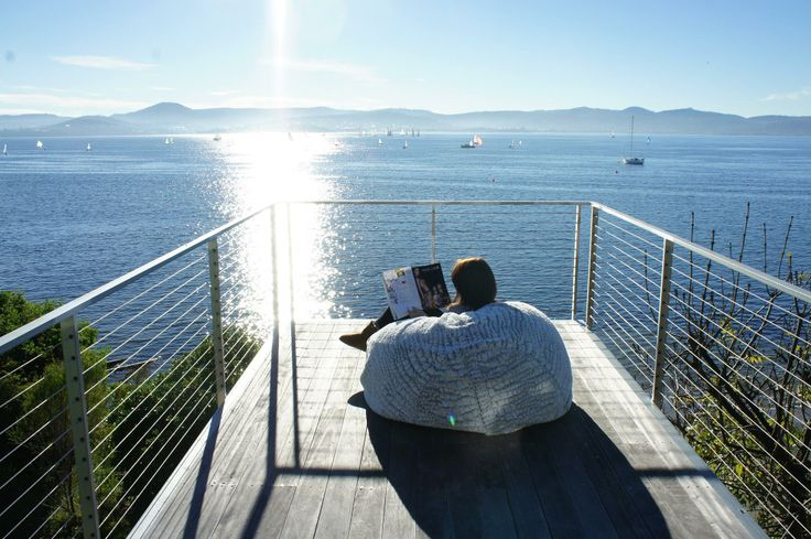 The perfect morning in Tasmania. Serenity on a KloudSac Beanbag.