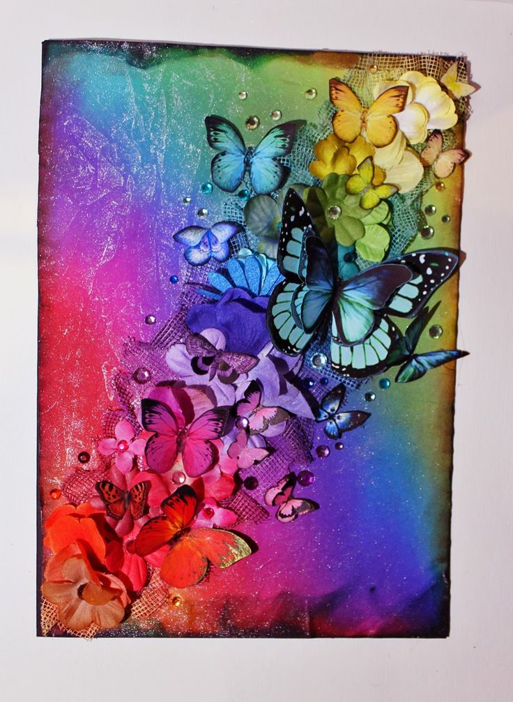 "Set the rainbow free 2. Artist said ""The butterflies are just different clipart I've found on picture-search-sites. I recolored them in photoshop, printed them on matte photopaper, cut them out, chalked the edges and added some glitter to some of them!"" #rainbow"