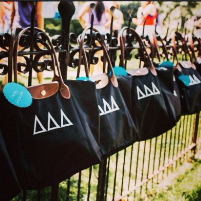 Delta Delta Delta Bid Day Bags.