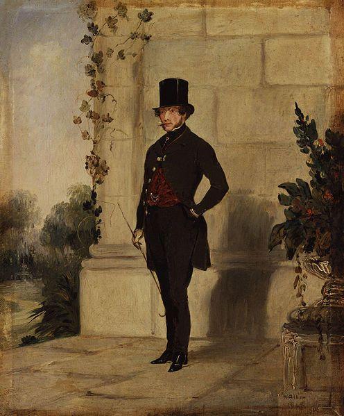 Na moda masculina, a grade influência foi o Principe Albert, consorte da Rainha Victoria, ele era mais novo que ela e muito vaidoso. Os ombros e o peito eram cheios e a cintura, minúscula. Surgiu para o homem, a roupa de trabalho, já que ele era o reflexo da sociedade produtiva. As roupas eram sóbrias e sérias, o homem omitia os enfeites, à exceção da gravata, da cartola, da barba e normalmente, da corrente do relógio de bolso, que ficava aparente sobre o colete.