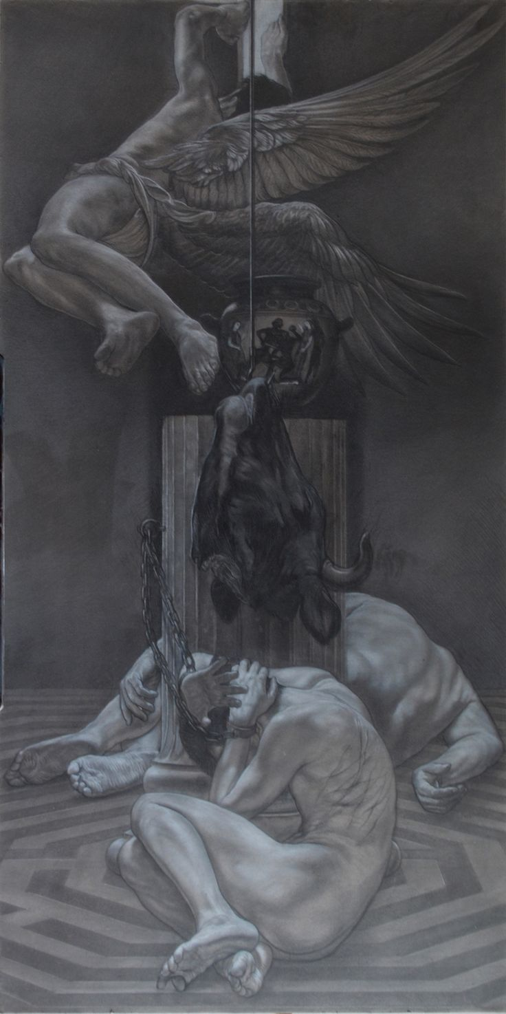 """""""Sons of Daedalus"""" pencil and white conté on grey paper on panel cm 100x200"""